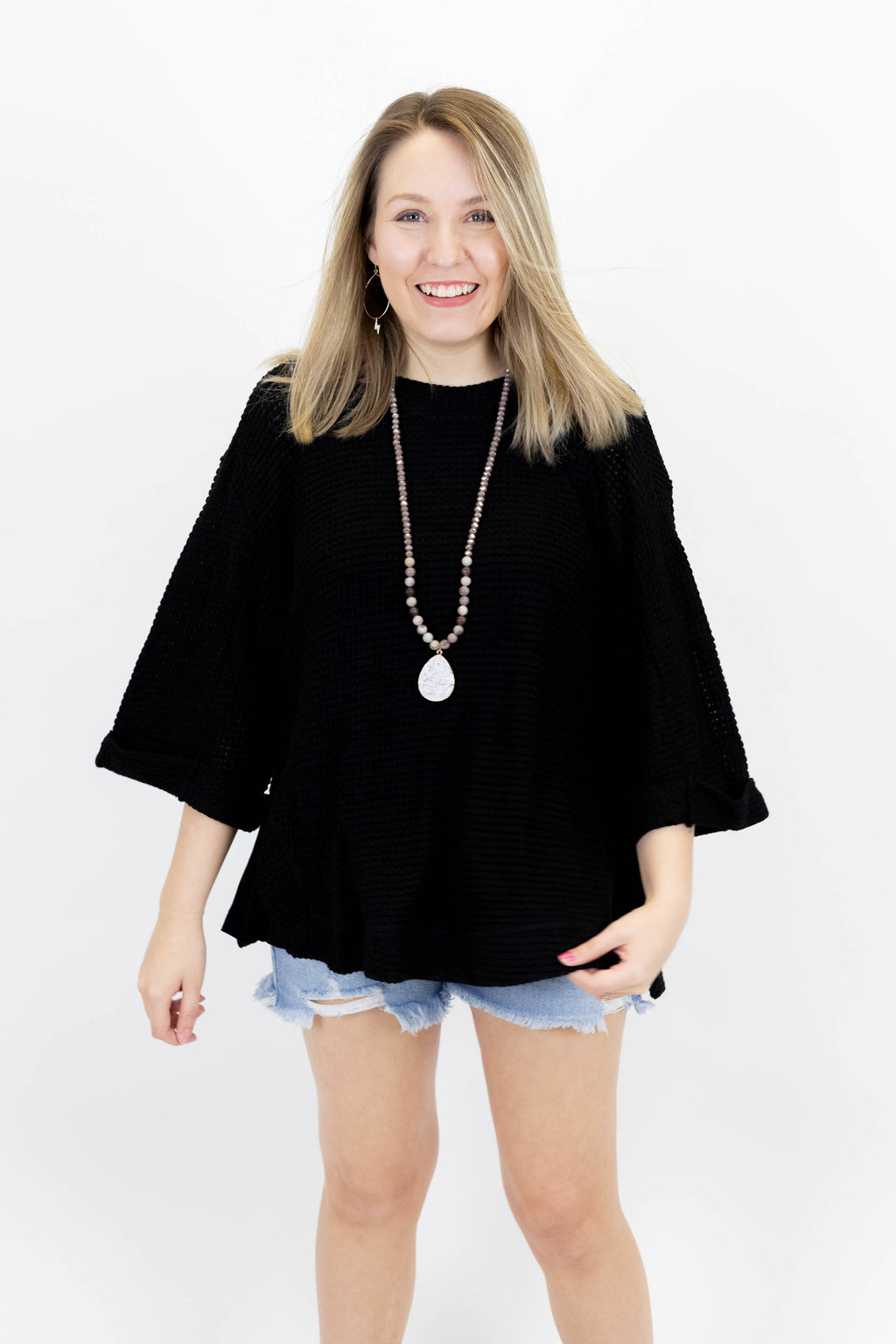 Black Waffle Knit 3/4 Length Sleeve Top with Scoop Neck