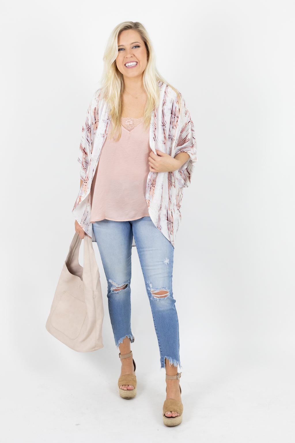 Short Sleeve Kimono with Abstract Pattern