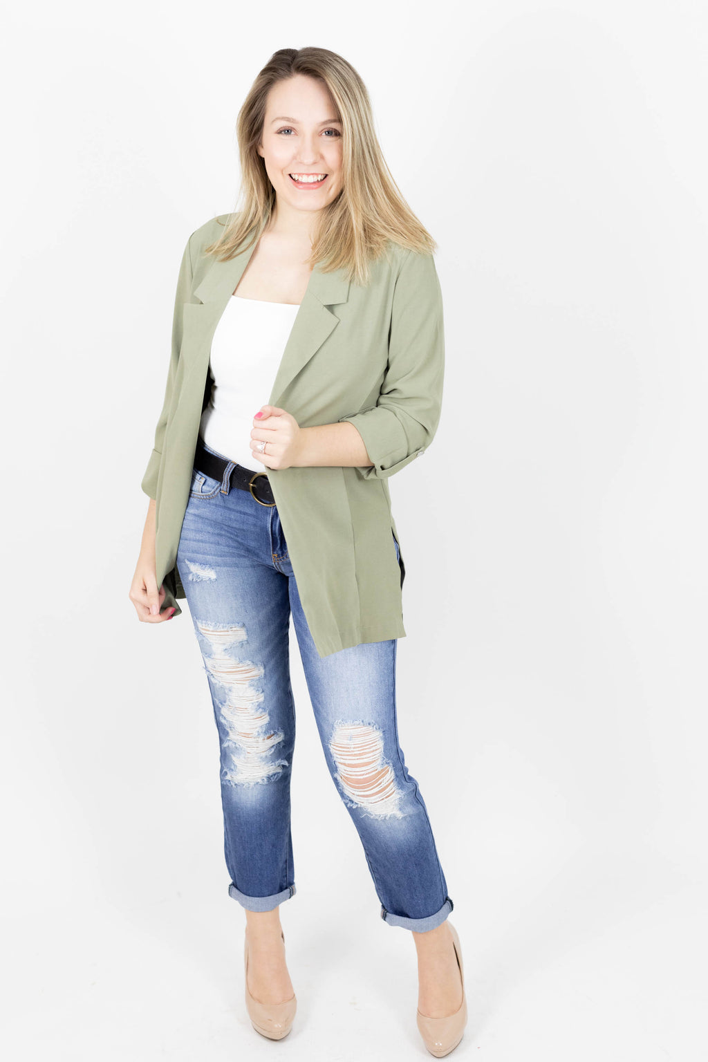 Sage Blazer Cut Jacket with Pockets & Loose Fit