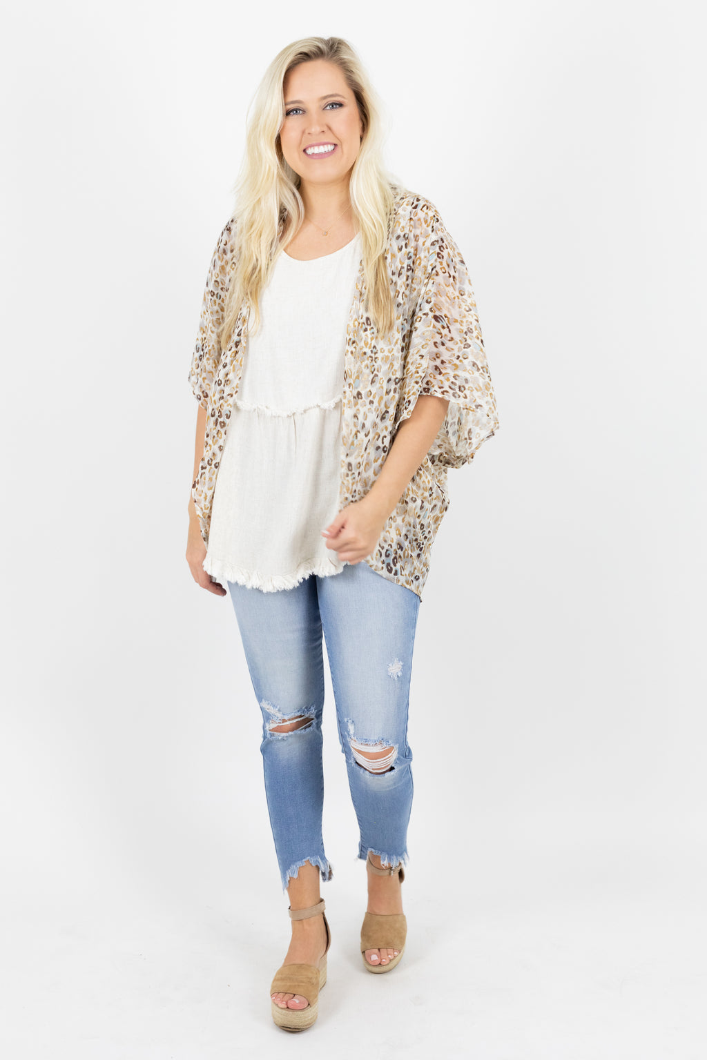 Short Sleeve Multicolor Animal Print Lightweight Kimono