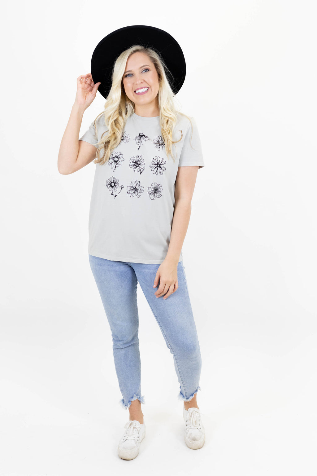 Silver Short Sleeve Tee with Stenciled Flowers on the Front