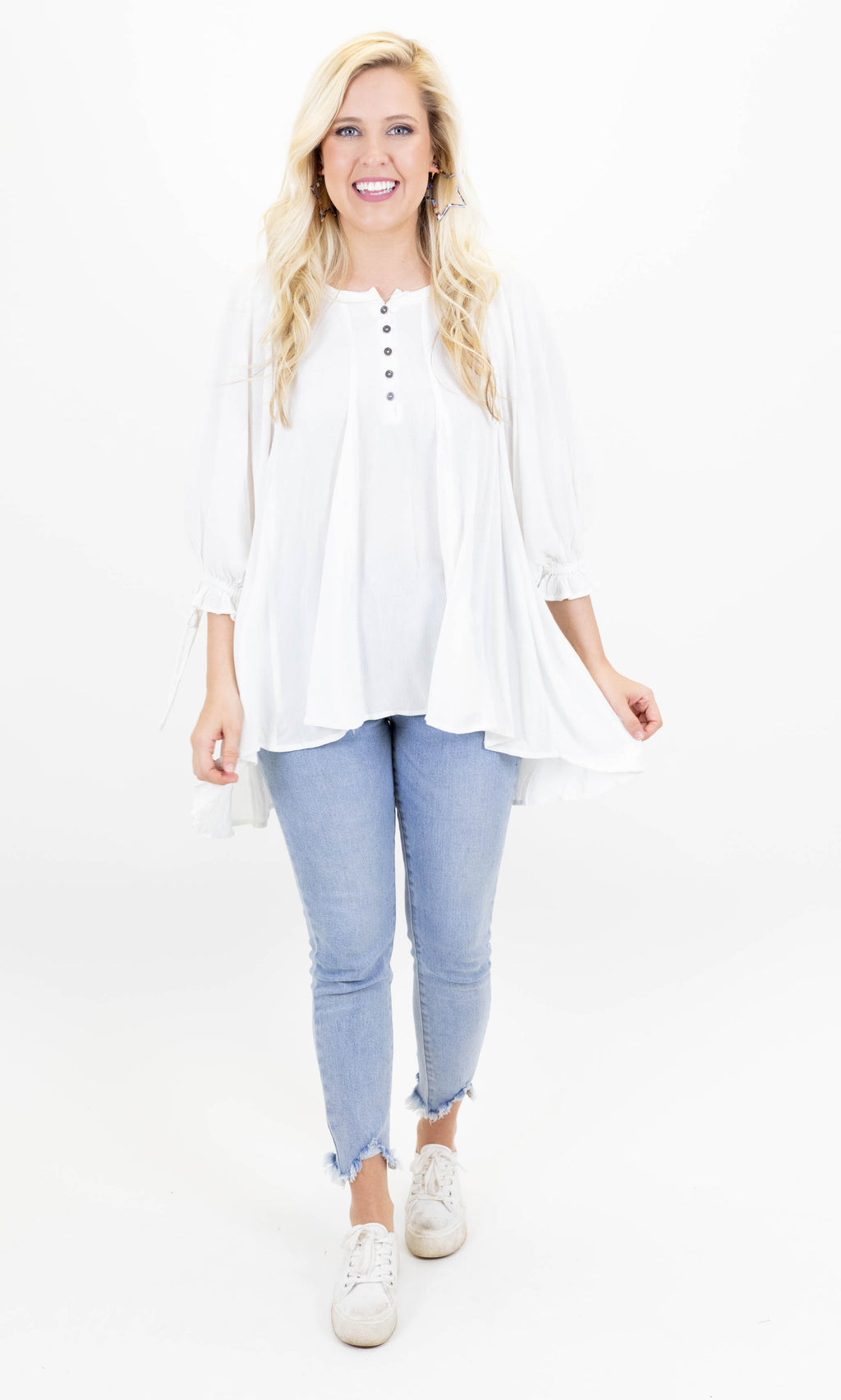 3/4 Length Sleeve Peasant Top with Tie Sleeves and Front Button Detailing