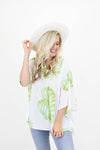 Short Sleeve Oversized Silky Top with Palm Leaves