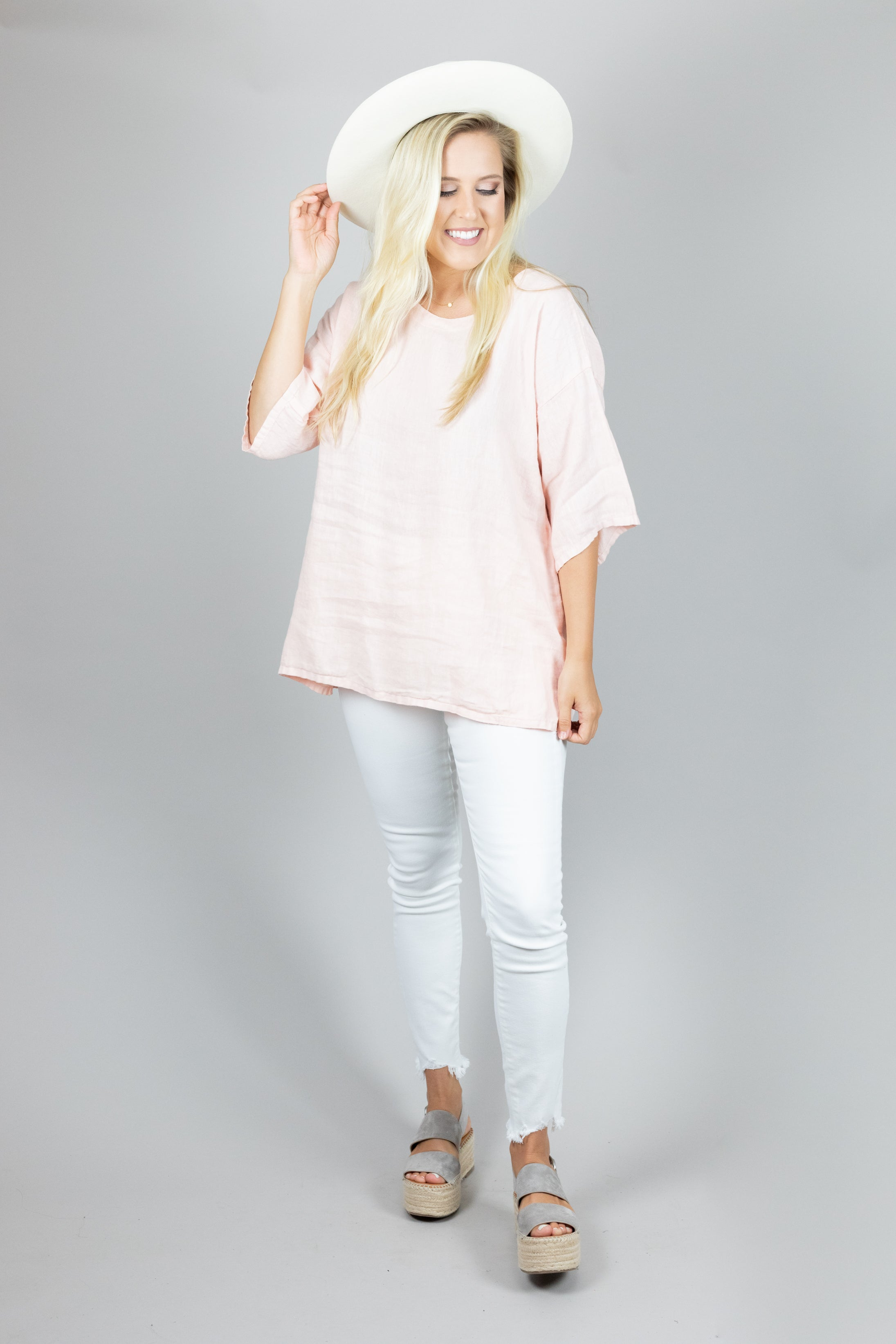 Short Sleeve Round Neck Linen Tunic