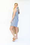 Striped Sleeveless Navy Beach Dress with Frayed Hems