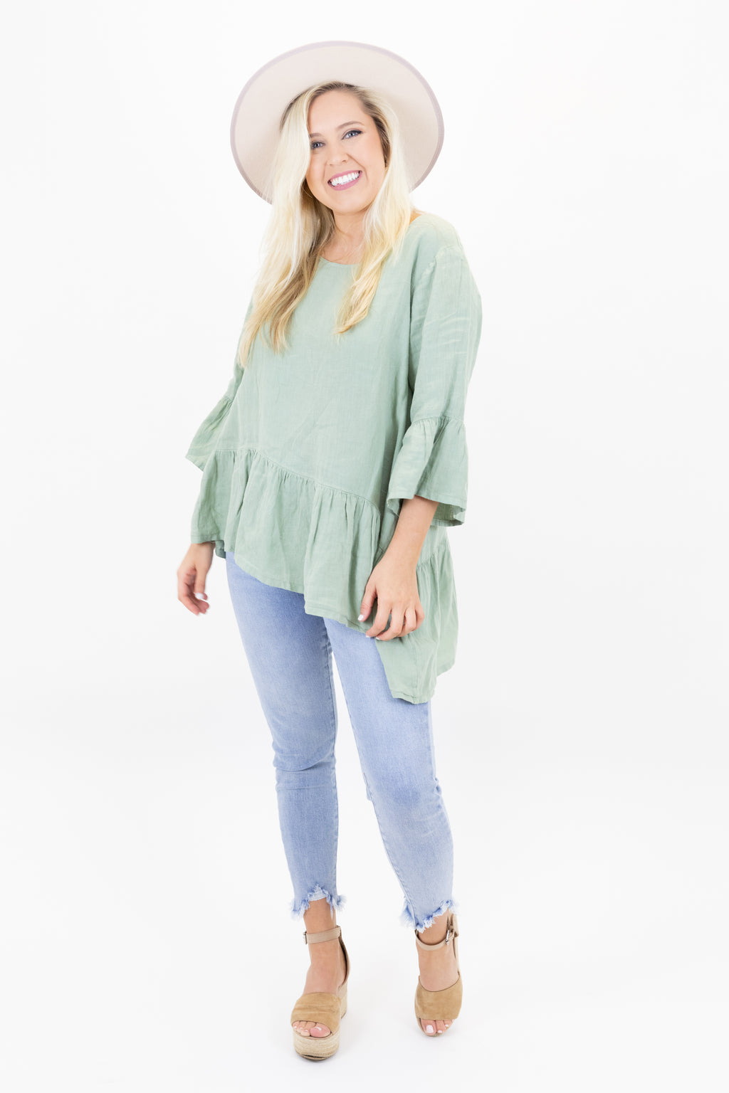 Asymmetrical Hem Linen Top