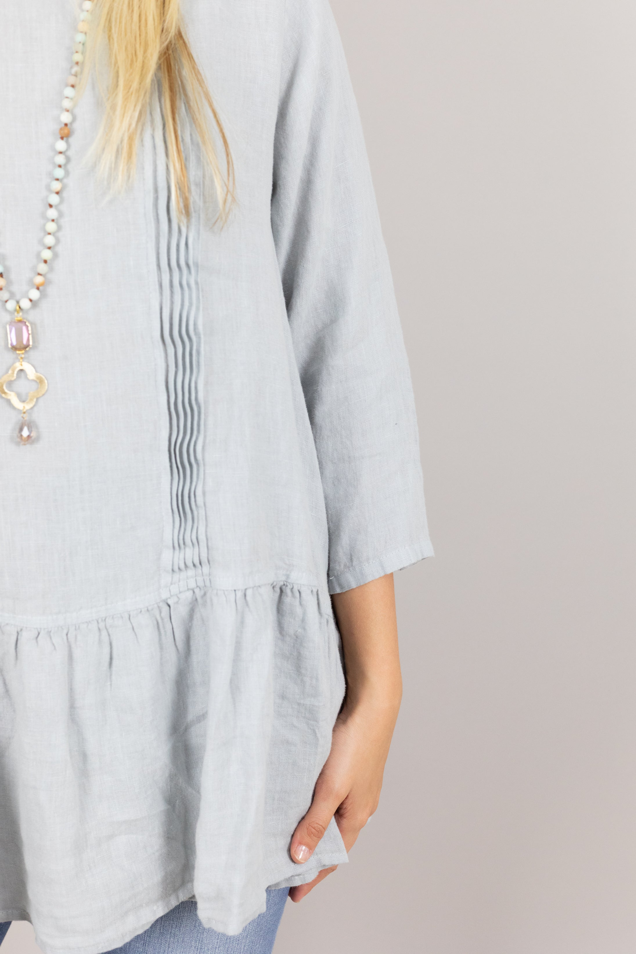 Pleated Ruffle Linen Top