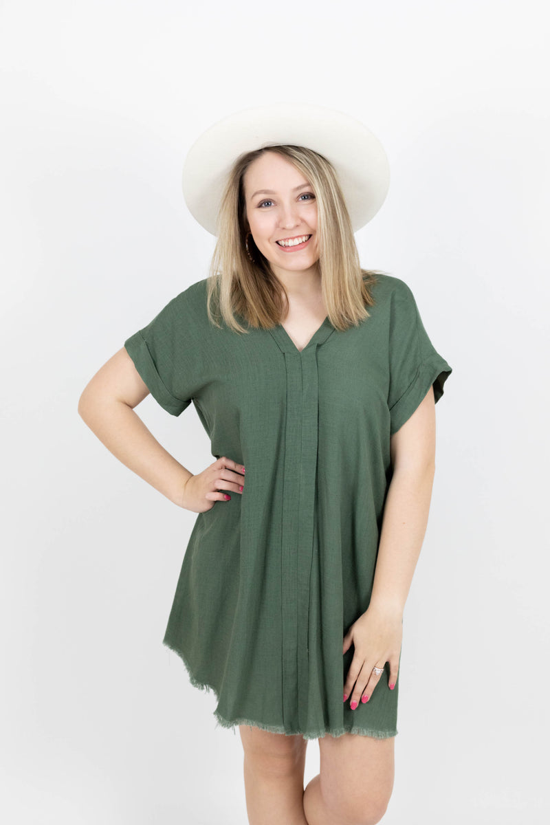 Linen Blend Short Sleeve Dress with Detailing Down the Middle