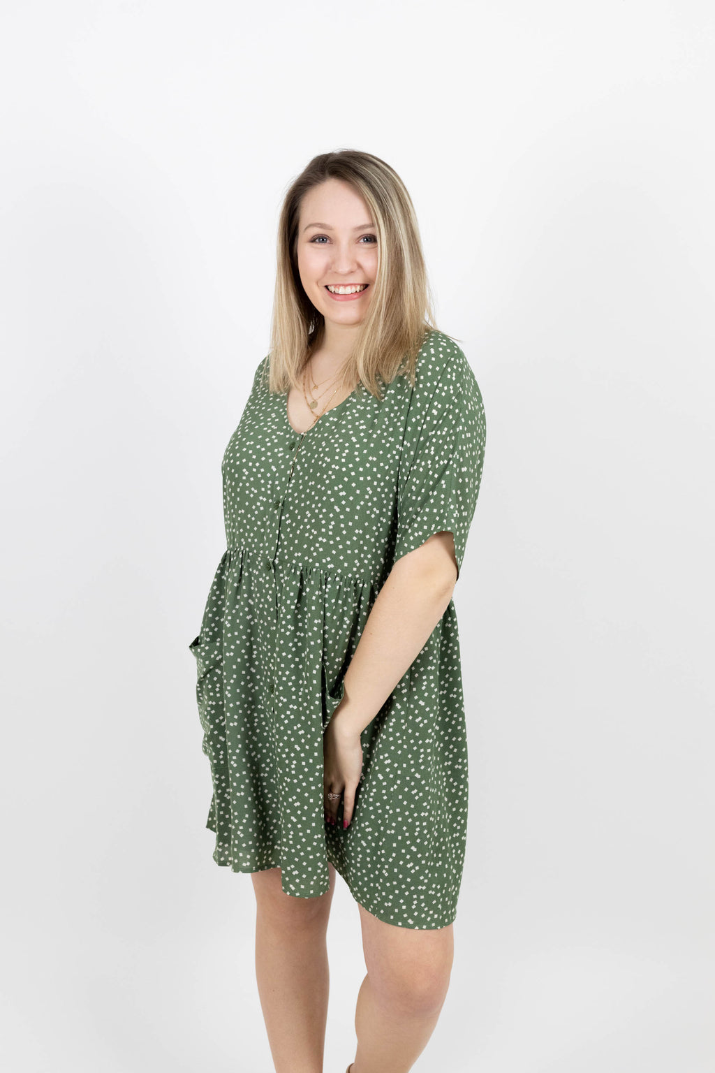 Button Front Sage Dress with Tiny Square Design and Pockets