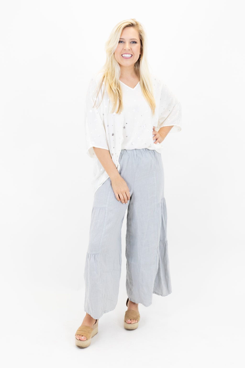 Tiered Ruffle Linen Pants