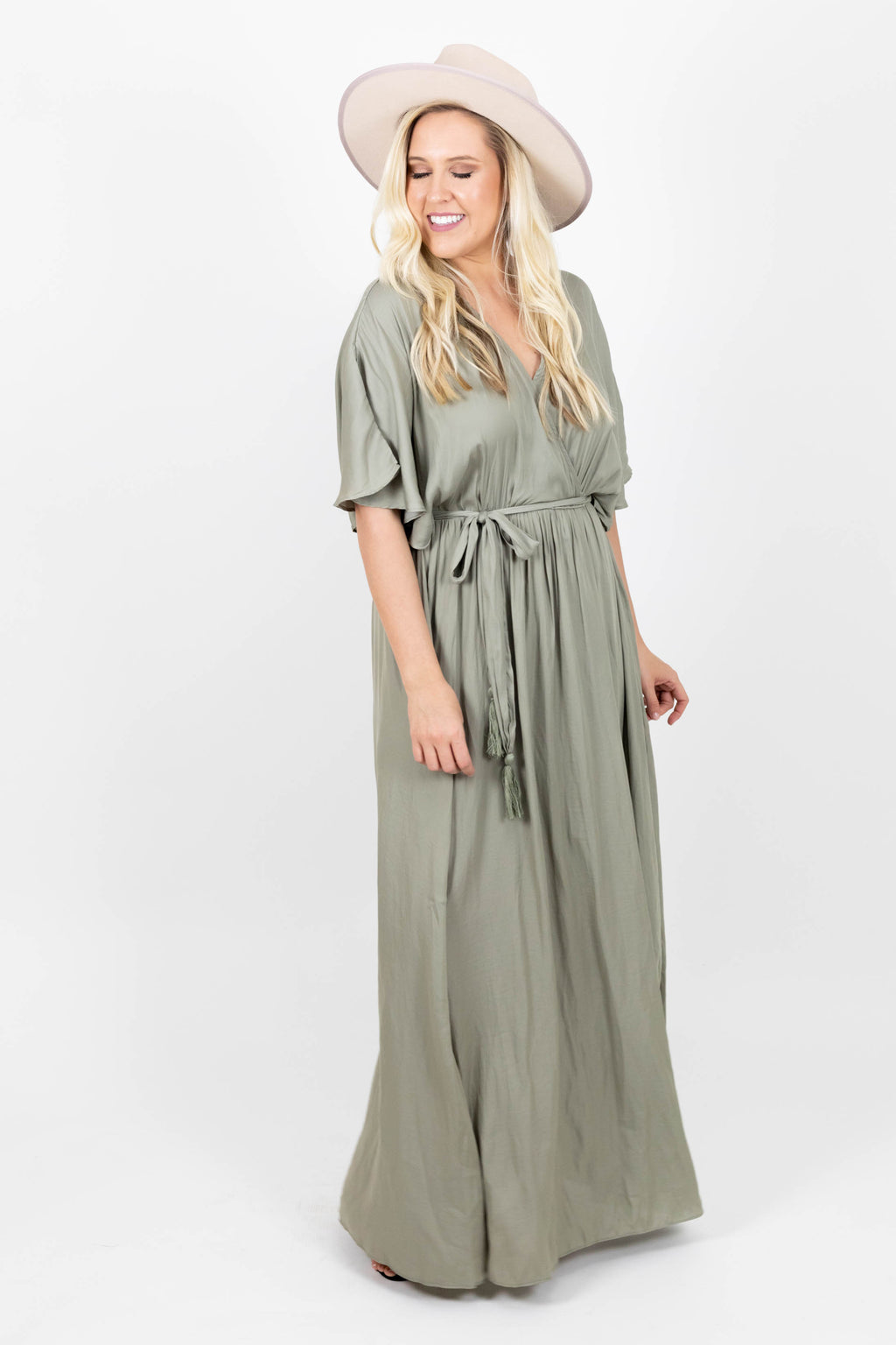Satin Maxi Dress with Crossover Design and Tie Front