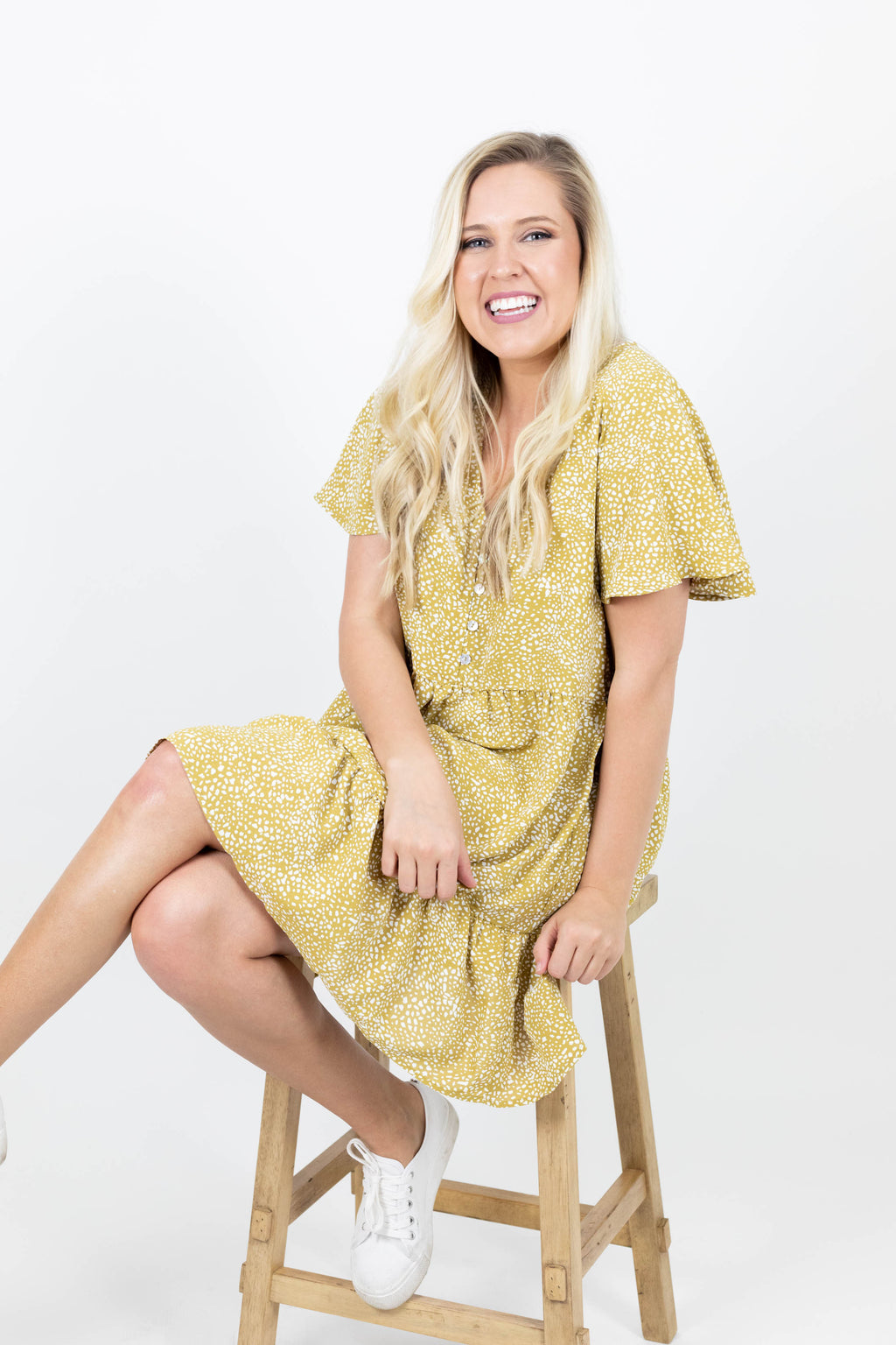Yellow Short Sleeve Dress with Tiered Ruffle Design and White Polka Dot Design