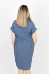 Blue Linen Blend Collared Dress with Pockets