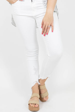 Shark Bite White Jeans