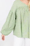 V-Neck Long Sleeve Bubble Sleeve Green Top with White Polka Dot Pattern