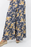 Floral Flowy Pants with Elastic Waistband and Bell Bottom Hem