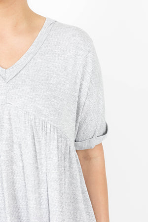 Heather Grey Babydoll Cut Short Sleeve Tie Back Top