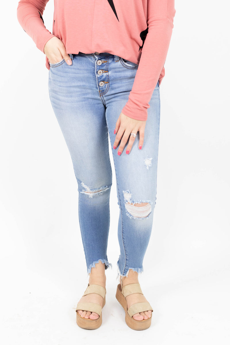 Button Front Light Wash Distressed Denim Jeans