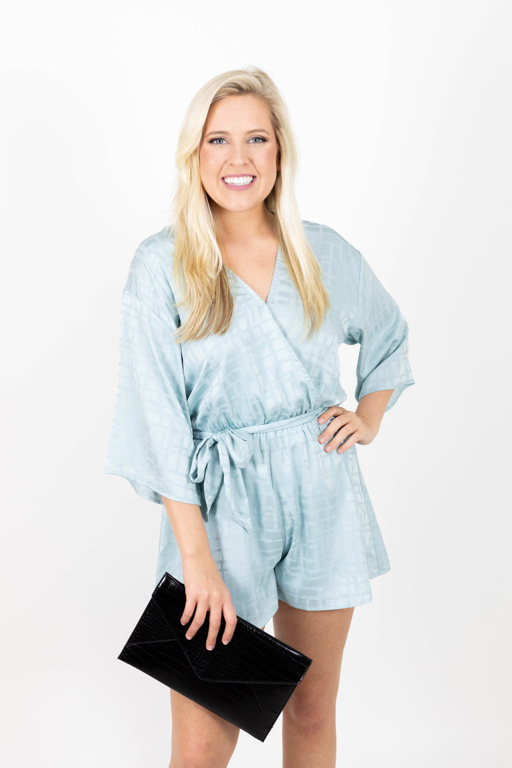 Satin 3/4 Length Sleeve Blue Romper with Subtle Geometric Pattern