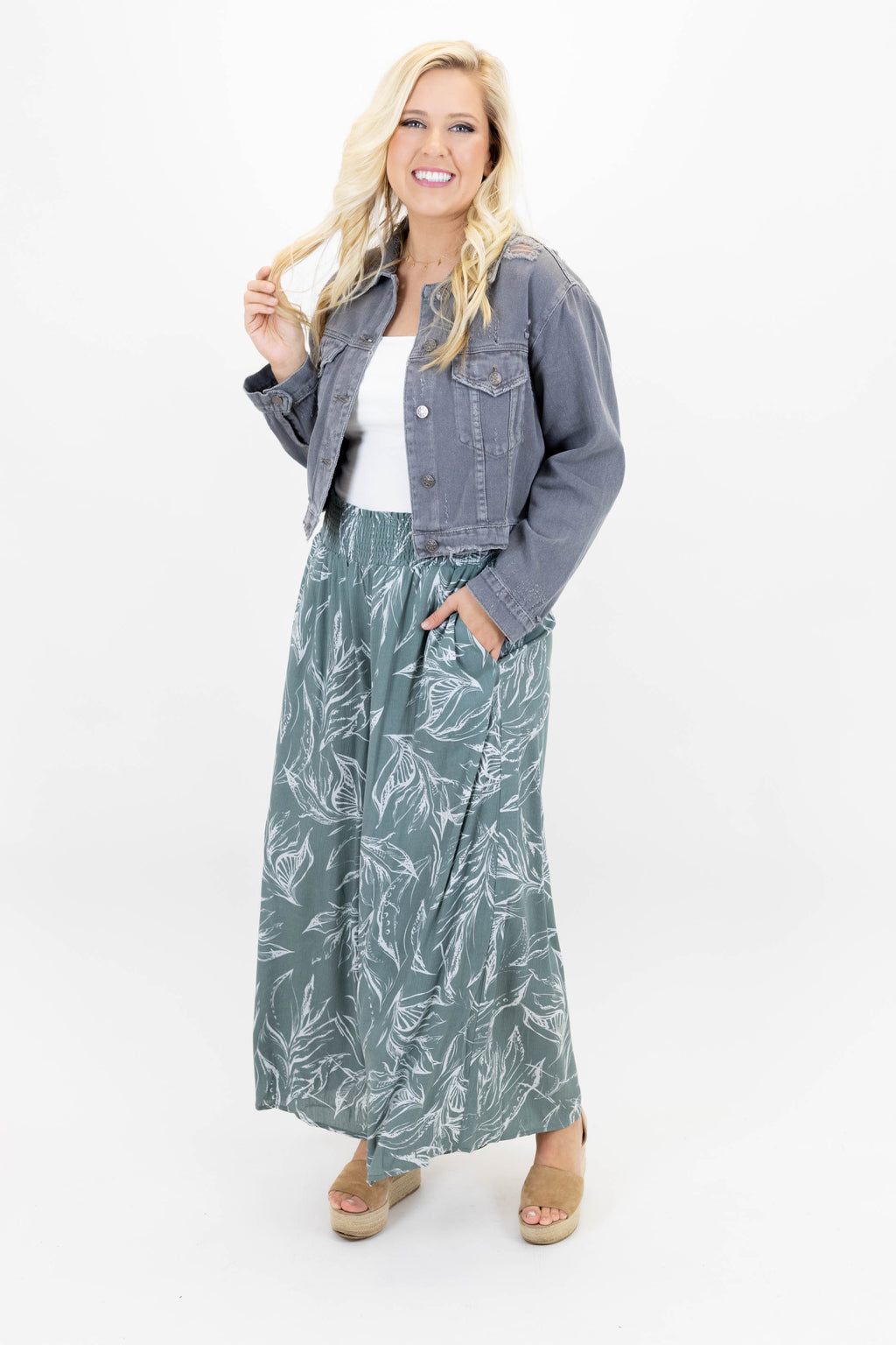 Palazzo Pants with Elastic Waistband and Earthy, Floral Pattern