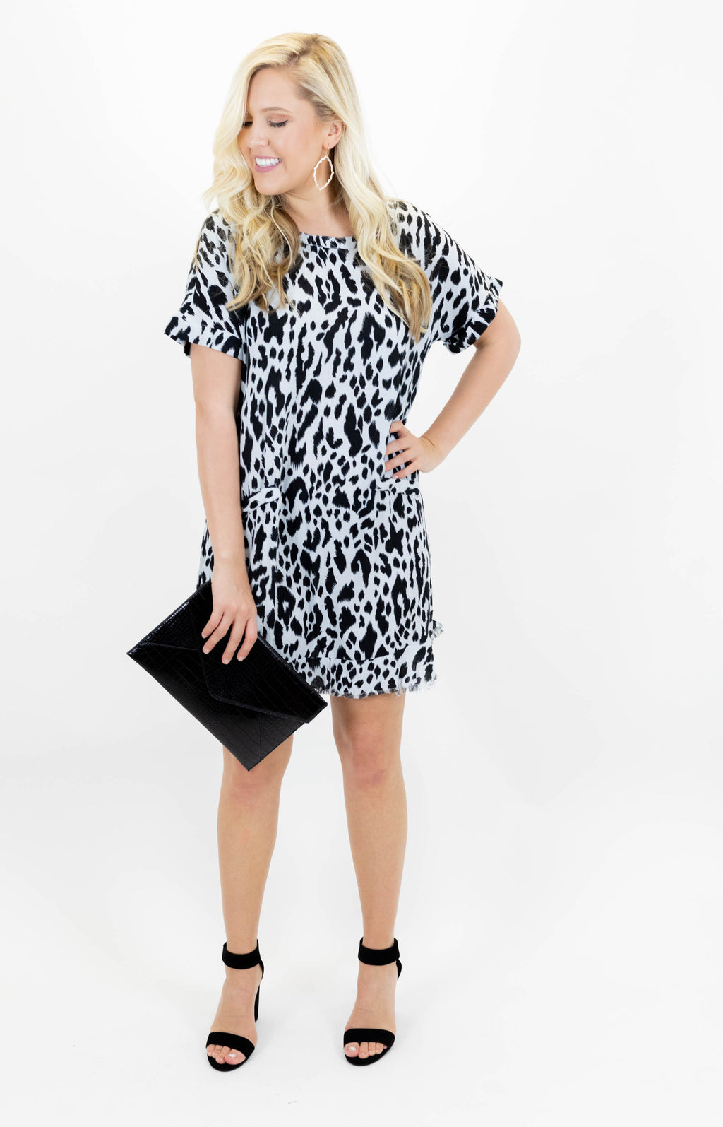 Short Sleeve Lightweight Leopard Dress with Faux Front Pockets
