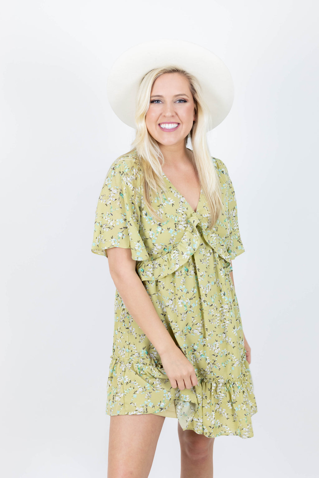 Yellow Short Sleeve Flower Print Dress with Ruffle Detailing