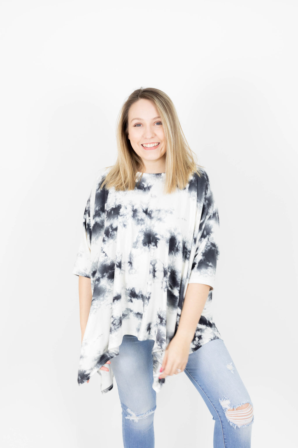 Oversized Poncho Top with Tie Dye Print