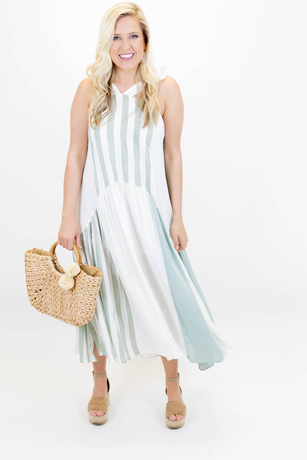 Sleeveless Strappy White and Green Maxi Dress with Side Slits