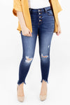 High Waisted Button Front Dark Wash Distressed Jeans