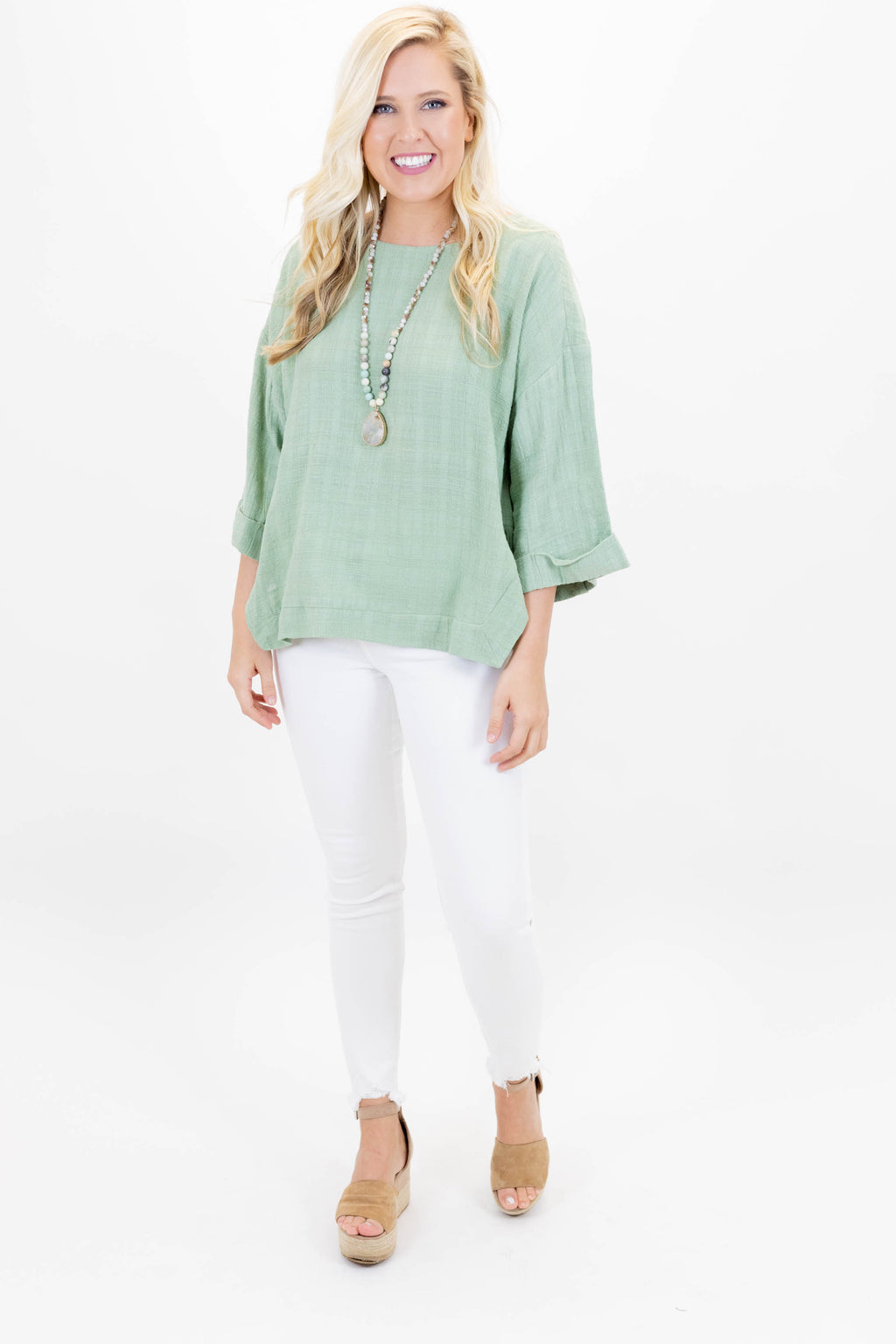 Slightly Striped Sage Top with 3/4 Length Sleeve and Cuffed Sleeve with Side Slit Detail