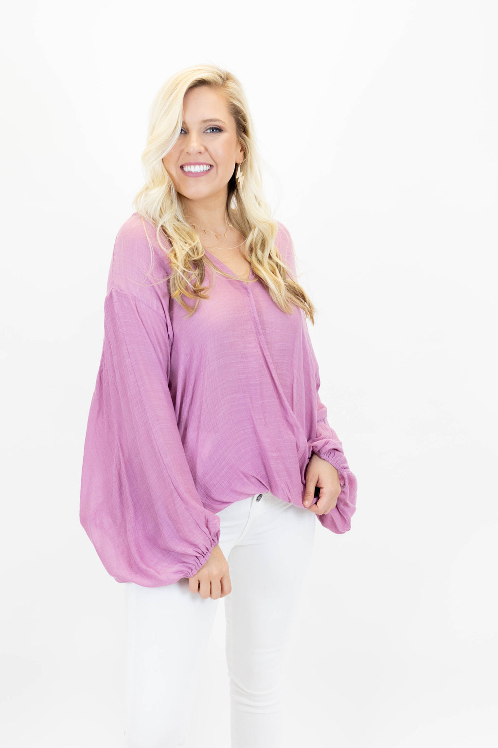 Pink Wrap Front Top with Bubble Sleeves, Snap Closure, and Loose Fit