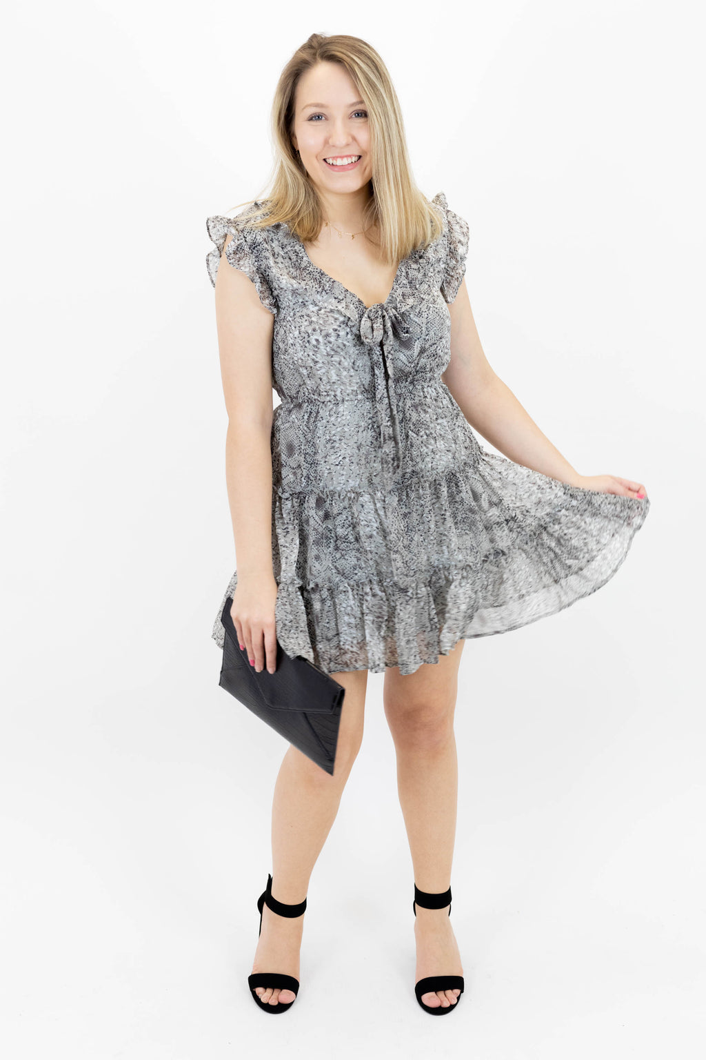 Sleeveless Ruffle Cap Sleeve Snake Print Dress with Tie Front and Elastic Waistband