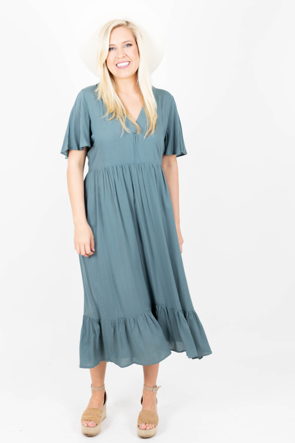 V-Neck Midi Dress with Ruffled Tiered Design