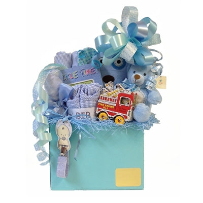 Baby boy gift basket with everything to welcome a new baby into the world!