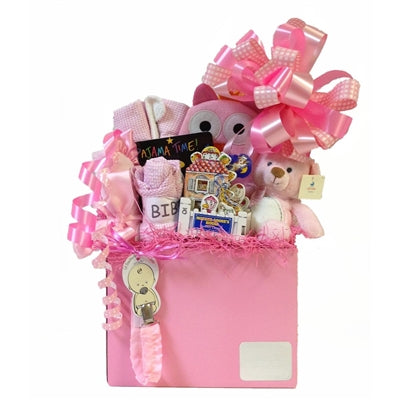Baby girl gift basket with everything to welcome a new, sweet baby into the world!