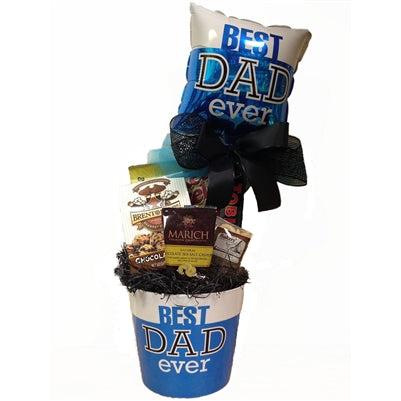 Father's Day gift basket filled with products all dads love.