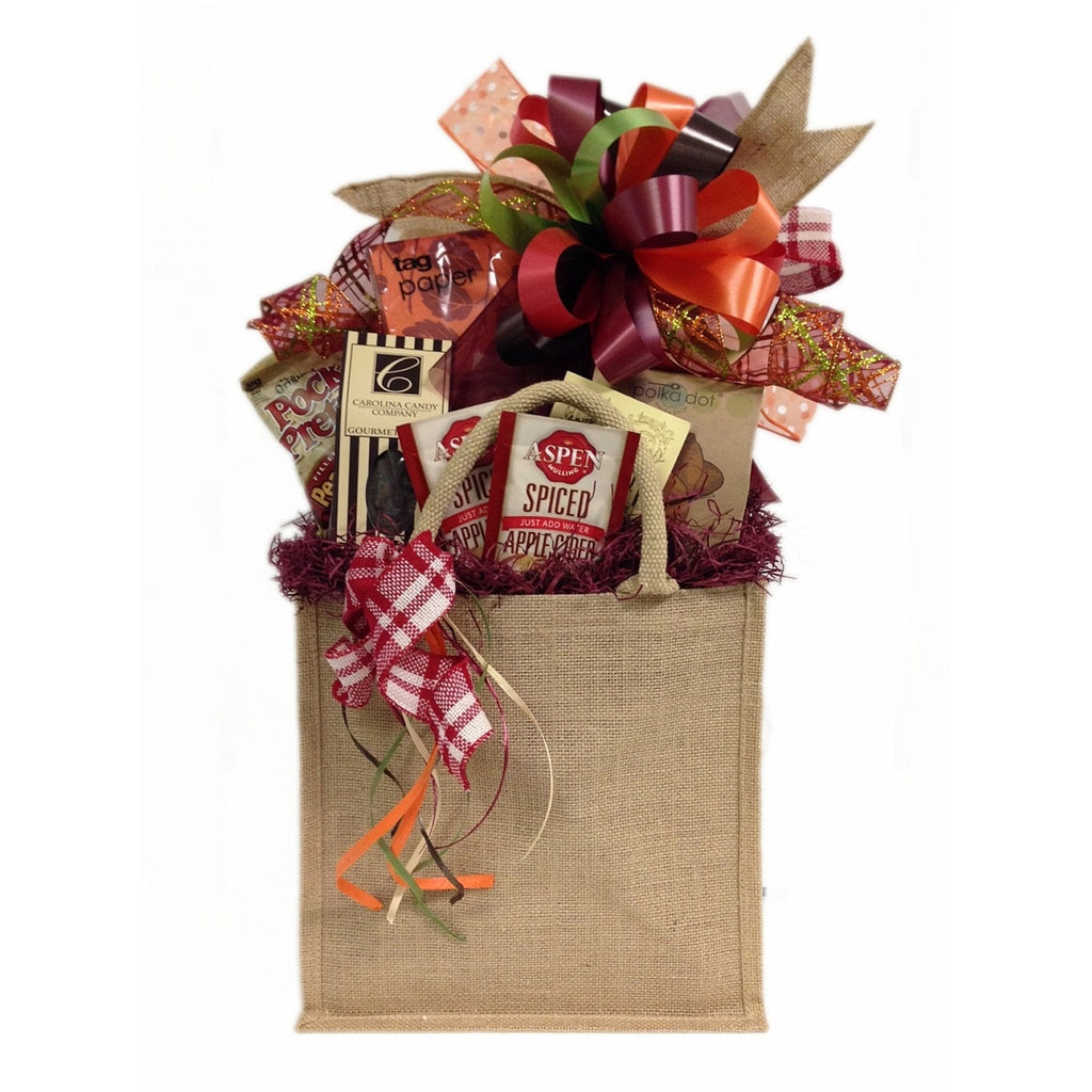 Seasonal, fall gift basket full of gourmet treats.