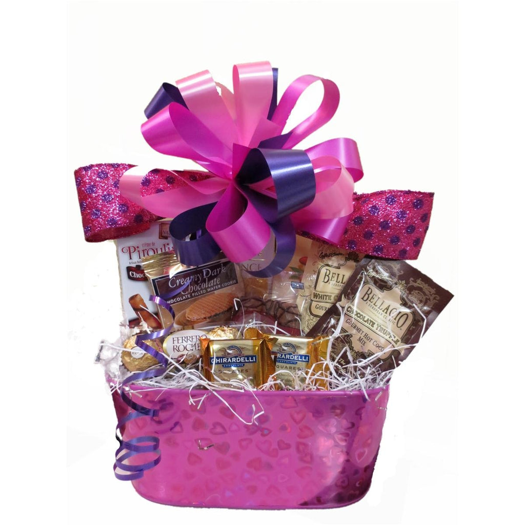This gift basket is overflowing with sweet, chocolatey treats.