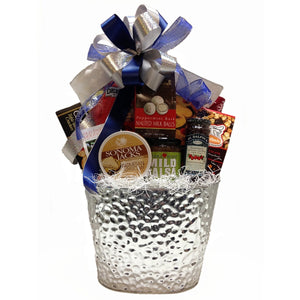 Winter-themed gift basket packed with the best, most thoughtful gourmet treats.
