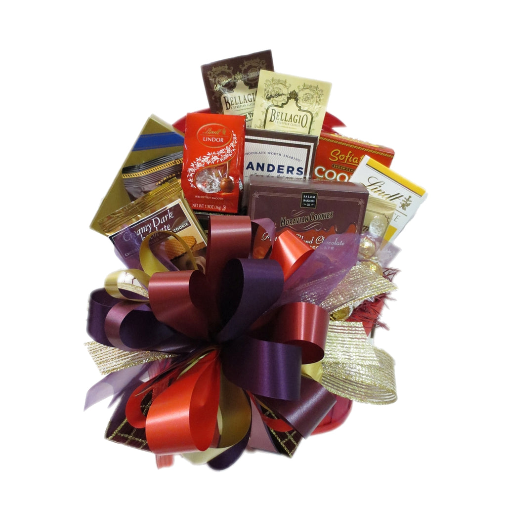 Decadent and deluxe gourmet gift basket.