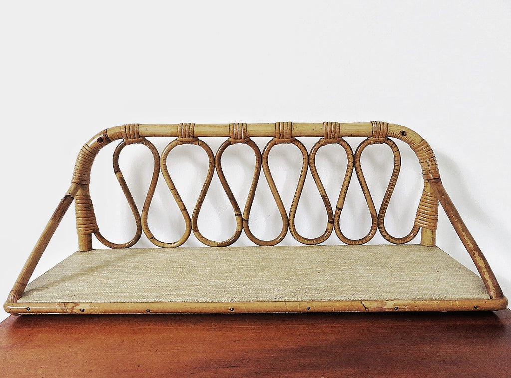 Pair of Mid-Century French Rattan Shelves (1950-1960)