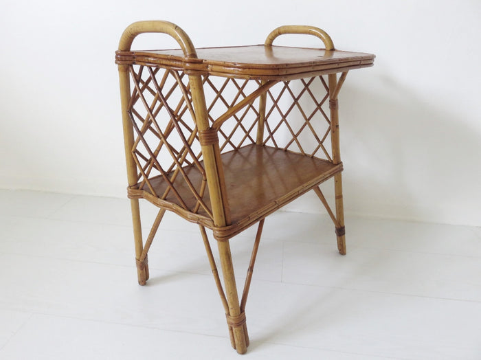Scandinavian Rattan Side Table (1950-1960)