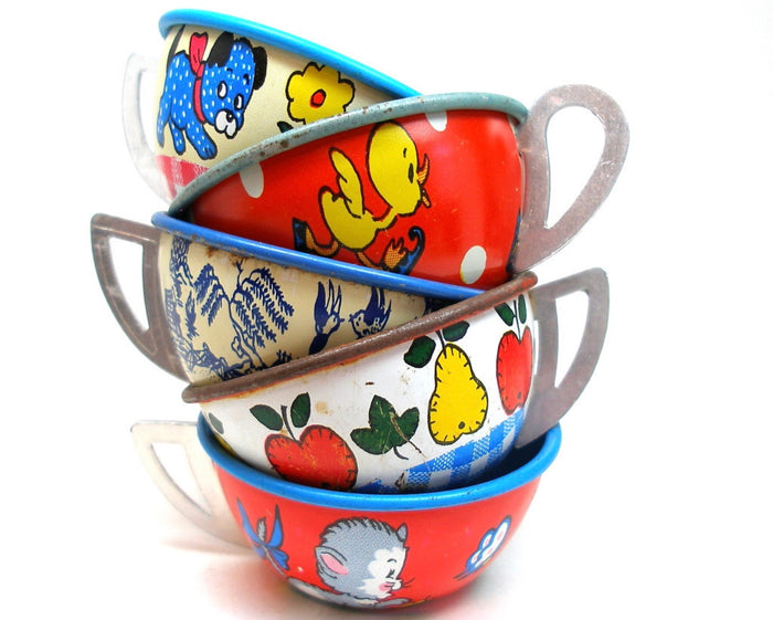 50s Tin Toy Tea cups collection