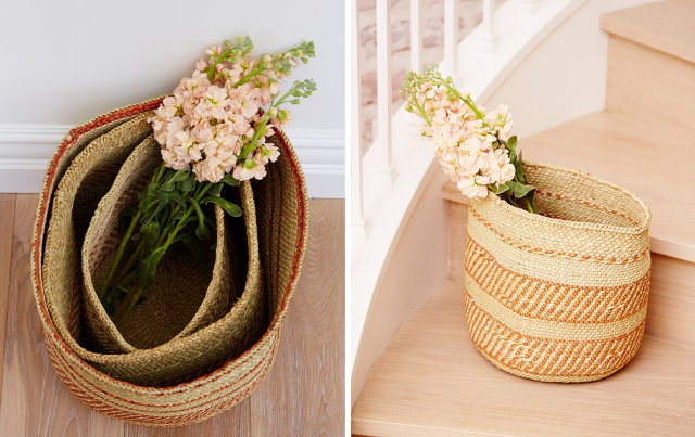 NATURAL IRINGA BASKET - STRIPE