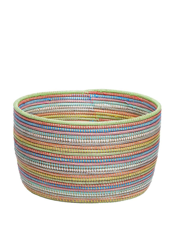 Knitting Basket - Rainbow Stripe