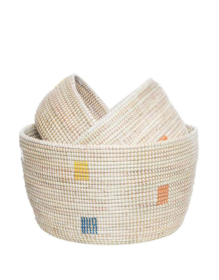 Stacked Knitting Baskets - Rainbow Dot