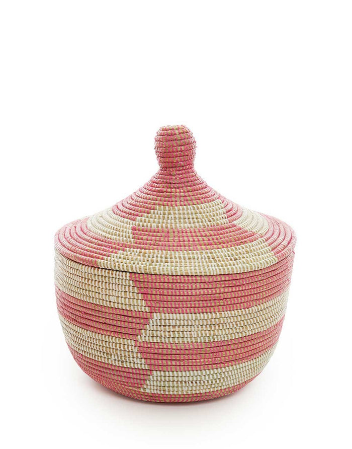 Whimsical Basket - Rose Herringbone