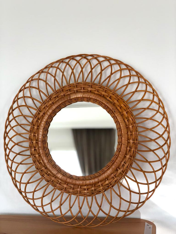 Vintage French Rattan Mirror (1970)