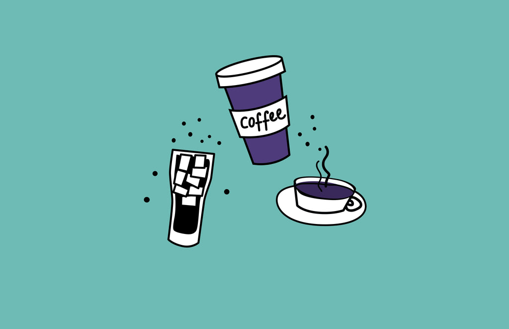Illustration of a cup of tea, coffee and fizzy drink