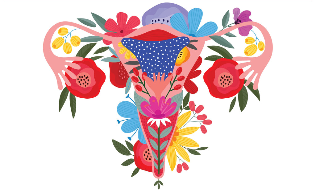 Floral uterus illustration
